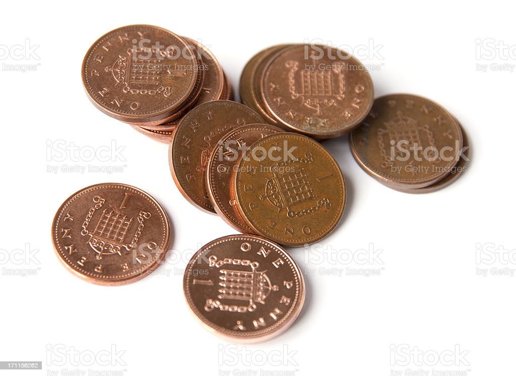 British one penny coins royalty-free stock photo
