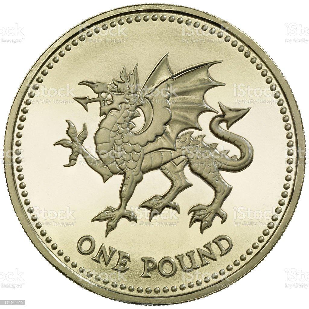 British One Pound coin 'Dragon Passant' royalty-free stock photo