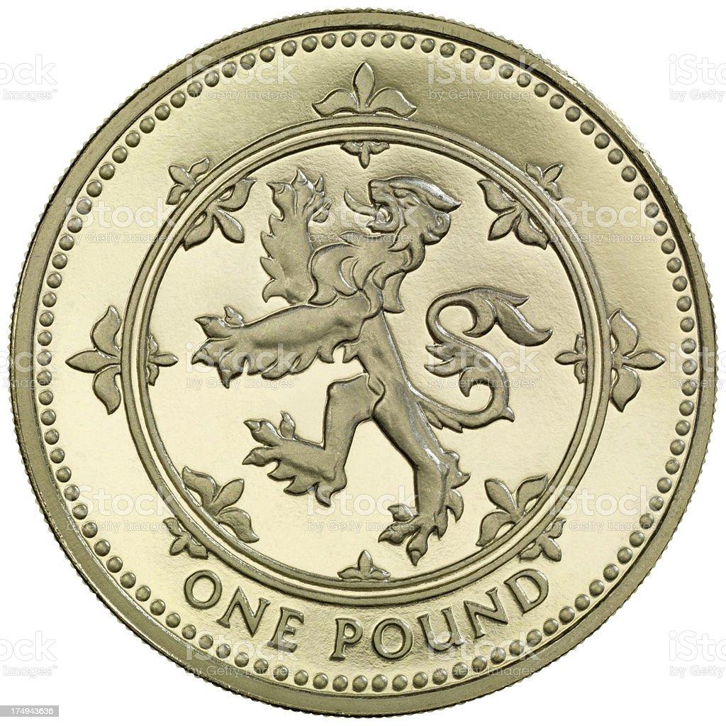 British One Pound coin 'Lion Rampant' royalty-free stock photo
