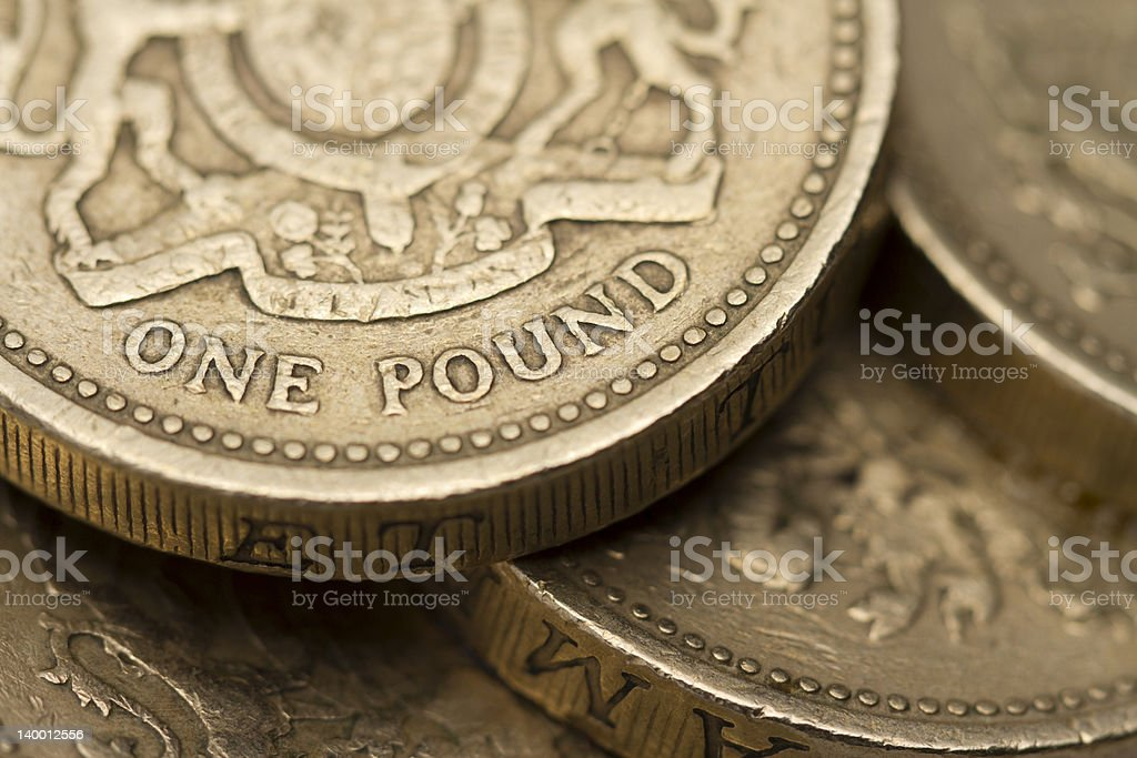 British One Pound Coin On A Pile stock photo