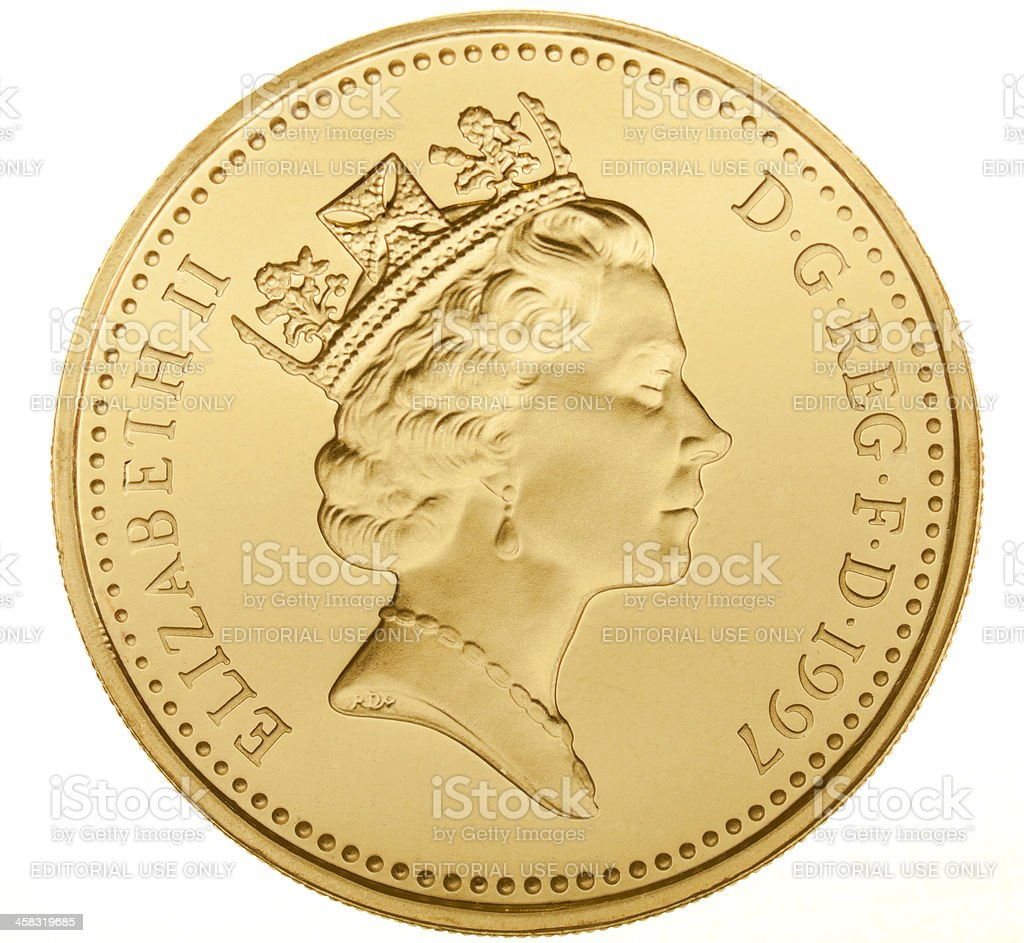 British One Pound Coin (with Clipping Path) royalty-free stock photo