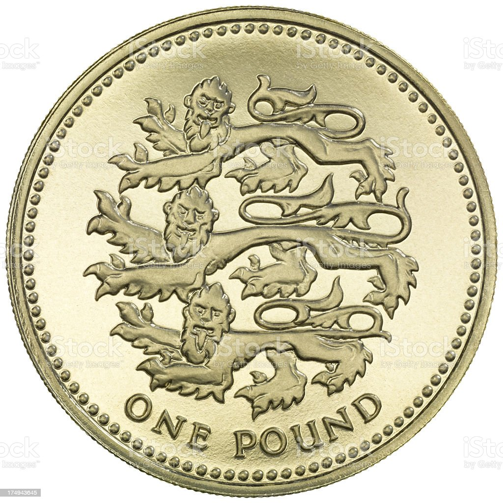 British One Pound coin 'Three Lions' stock photo