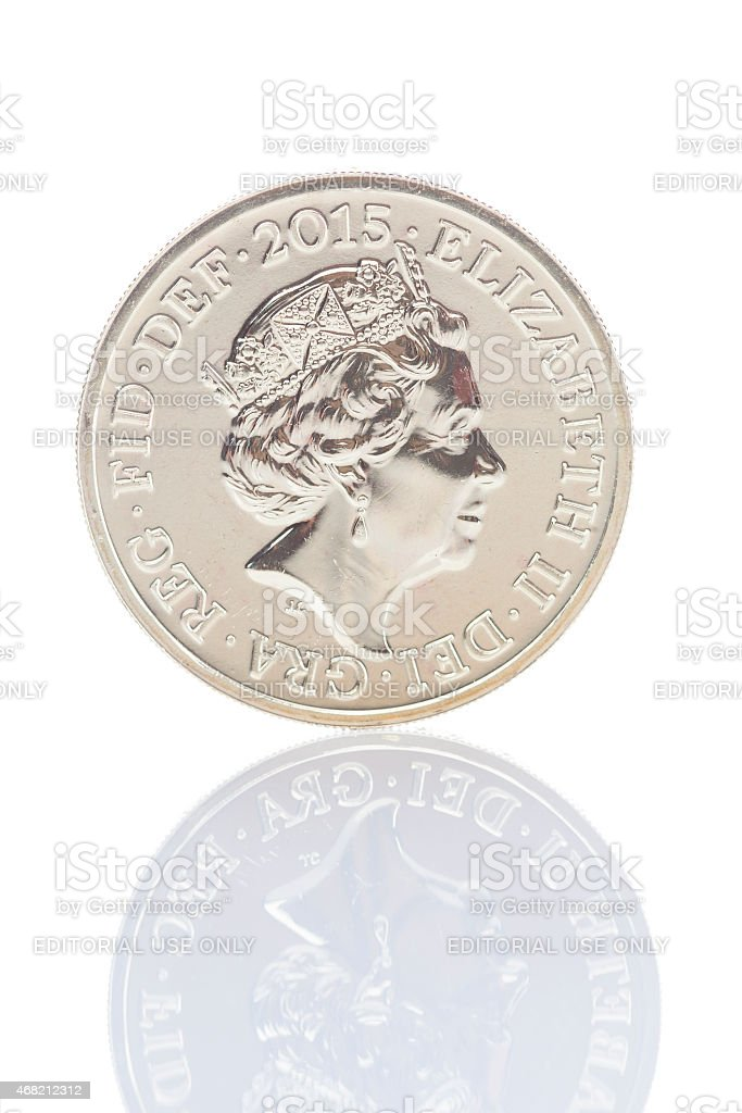 2015 British One Pound Coin With Updated Queen's Head stock photo