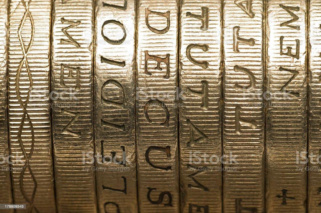 British one pound coins stock photo