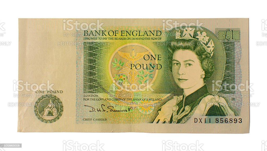 British One Pound Note stock photo