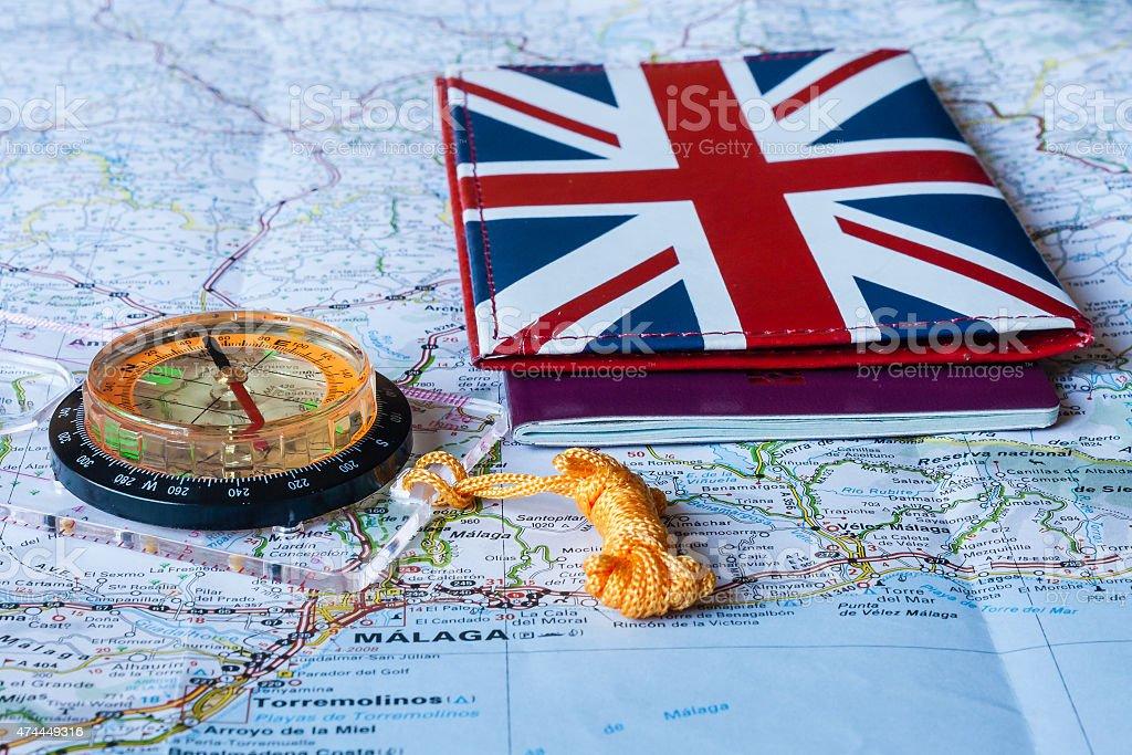 British passport with compass stock photo