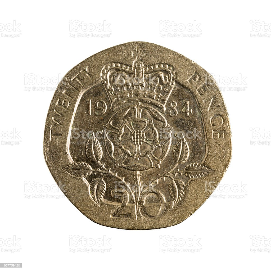 20 british pence coin (1984) isolated on white background stock photo