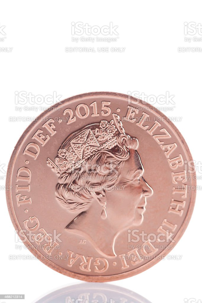 2015 British Penny Coin With Updated Queen's Head stock photo