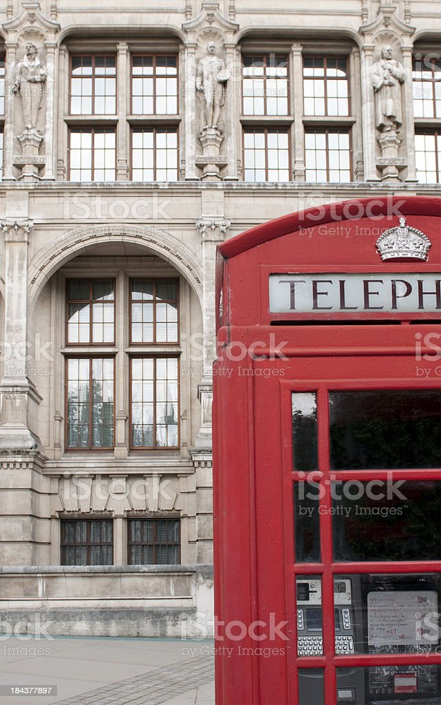 British phone booth in front of Victoria and Albert Museum royalty-free stock photo