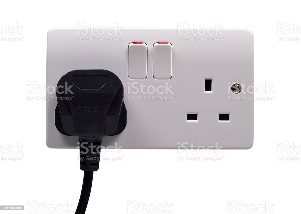 British Plug and Socket on White royalty-free stock photo