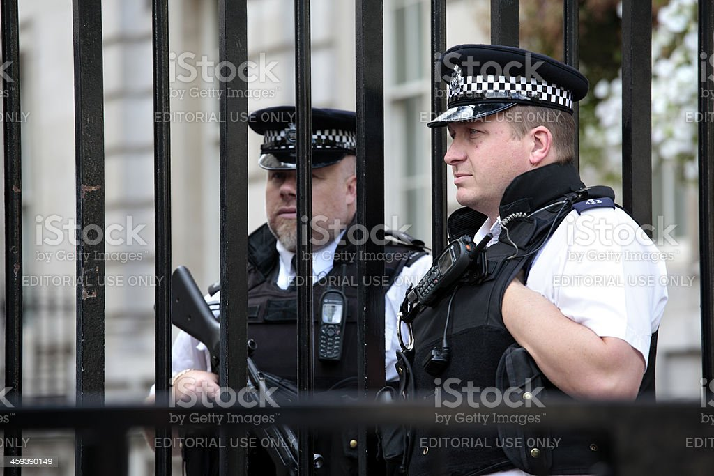 British policemen at Downing Street stock photo