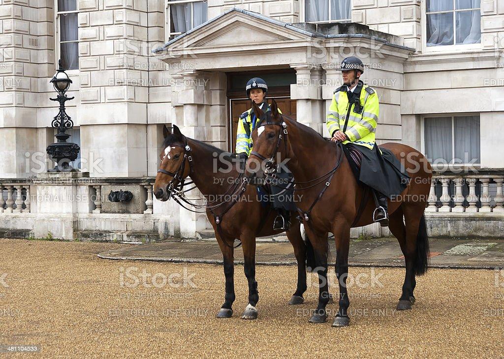 British policemen on horseback stock photo