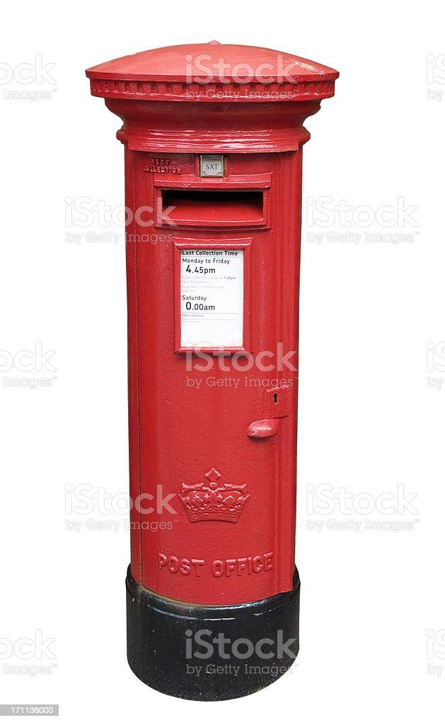 British Post Box Isolated on White royalty-free stock photo