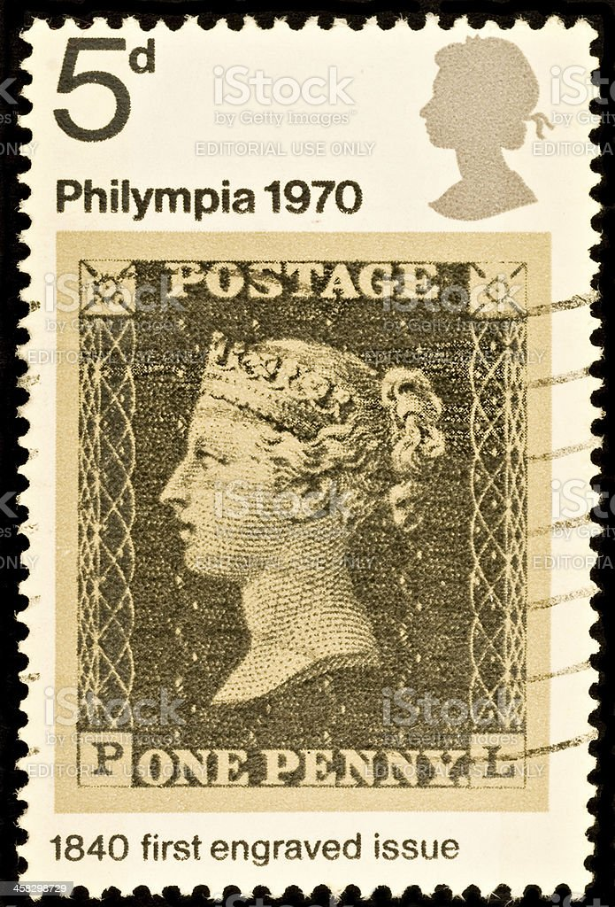 British Postage Stamp Showing Penny Black stock photo