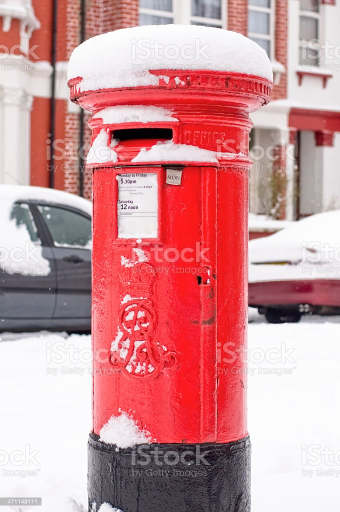 British Postbox in Snow royalty-free stock photo