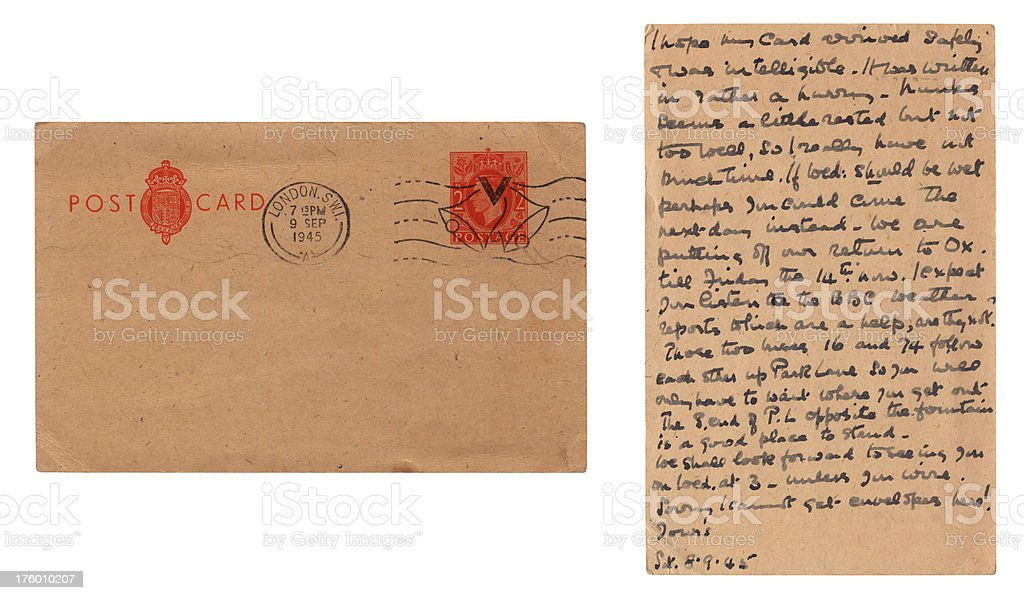 British postcard from 1945 - front and back royalty-free stock photo