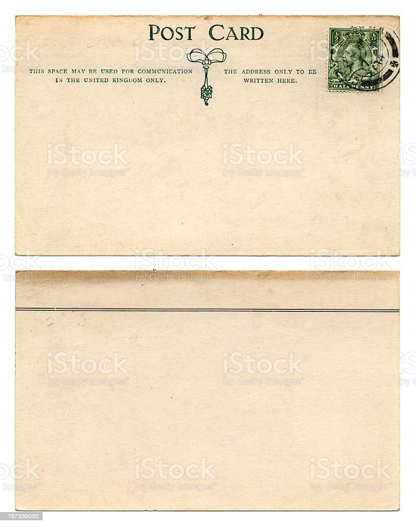 British postcard front and back (1914) stock photo