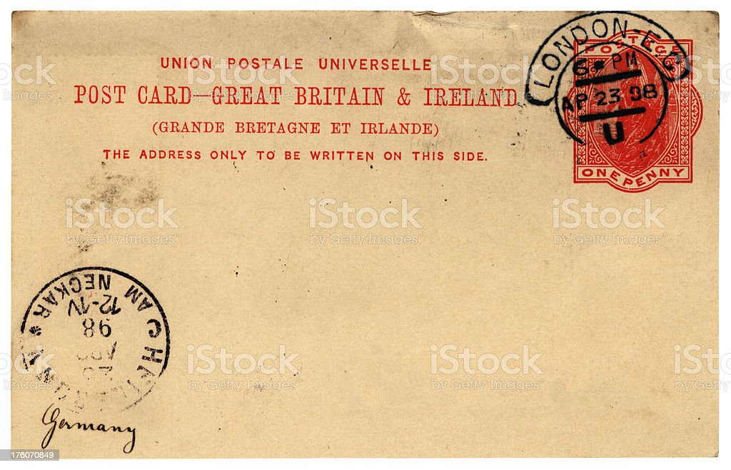 British postcard to Germany, 1898 royalty-free stock photo
