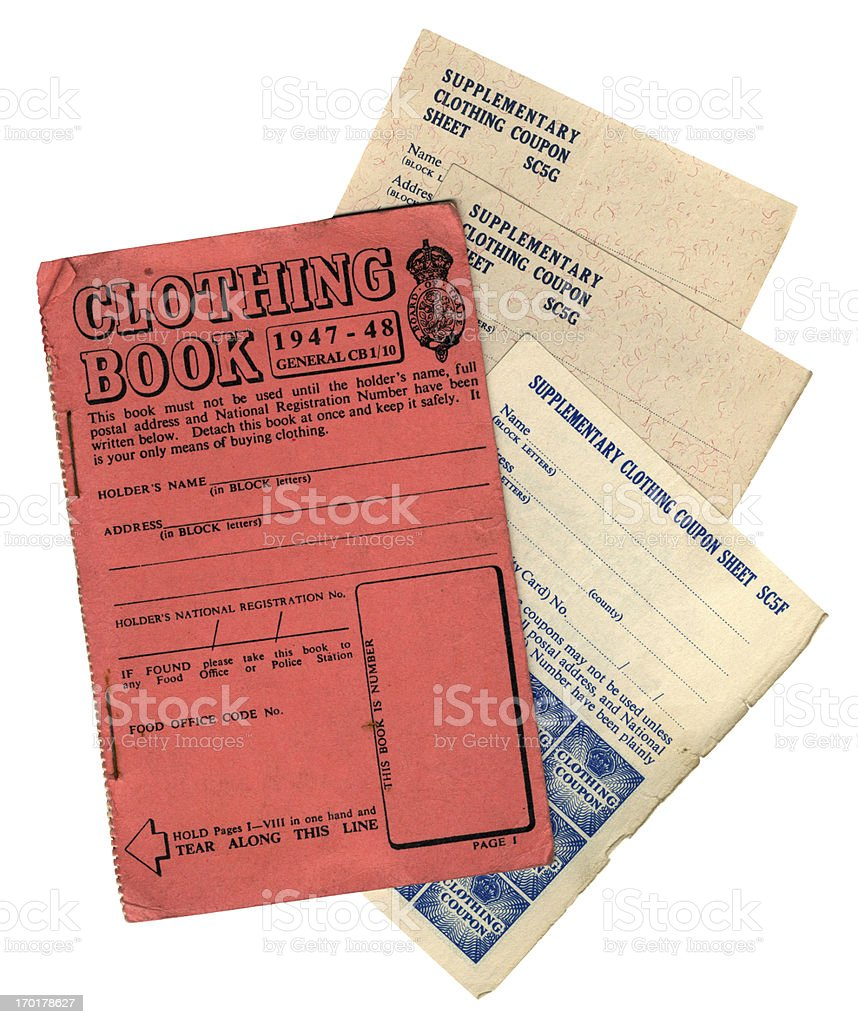British post-war clothing coupons and book stock photo