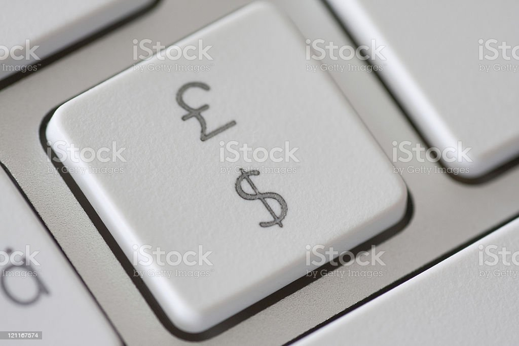 British pound and american dollar symbol on keyboard royalty-free stock photo