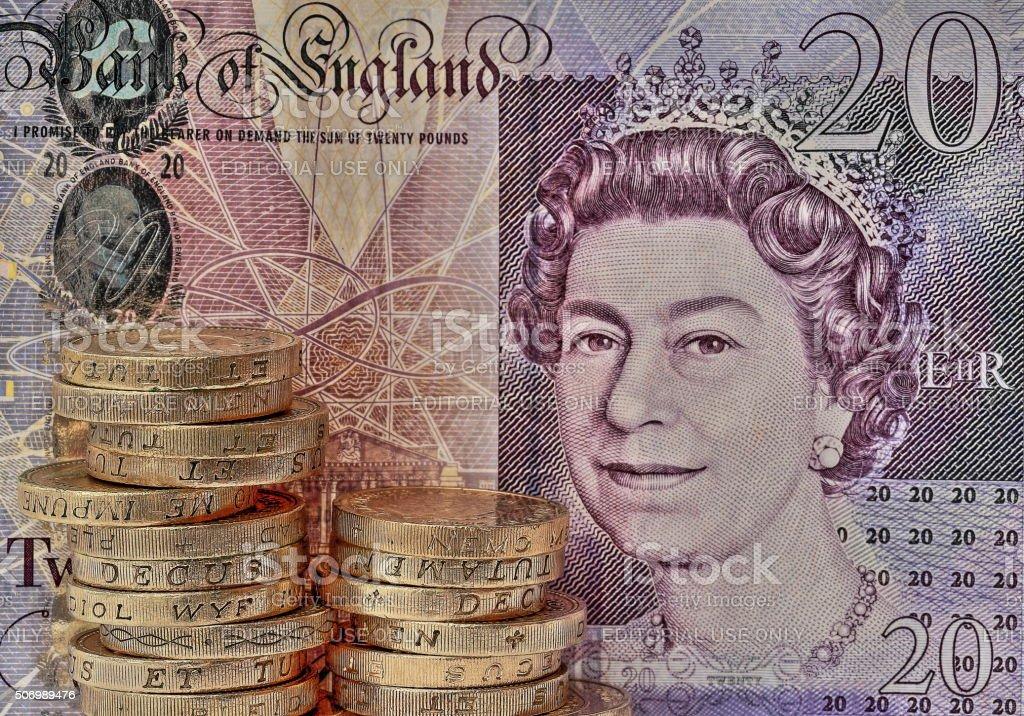 British Pound Coin & £20 note stock photo