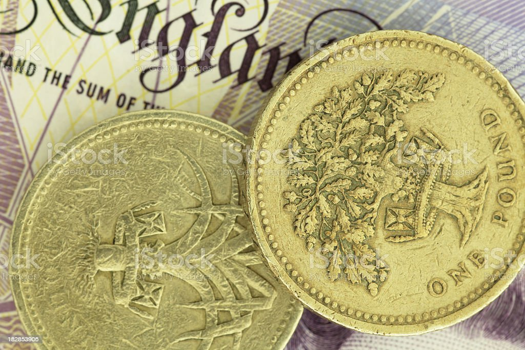 British Pound Coins on a Note (High Resolution Image) royalty-free stock photo