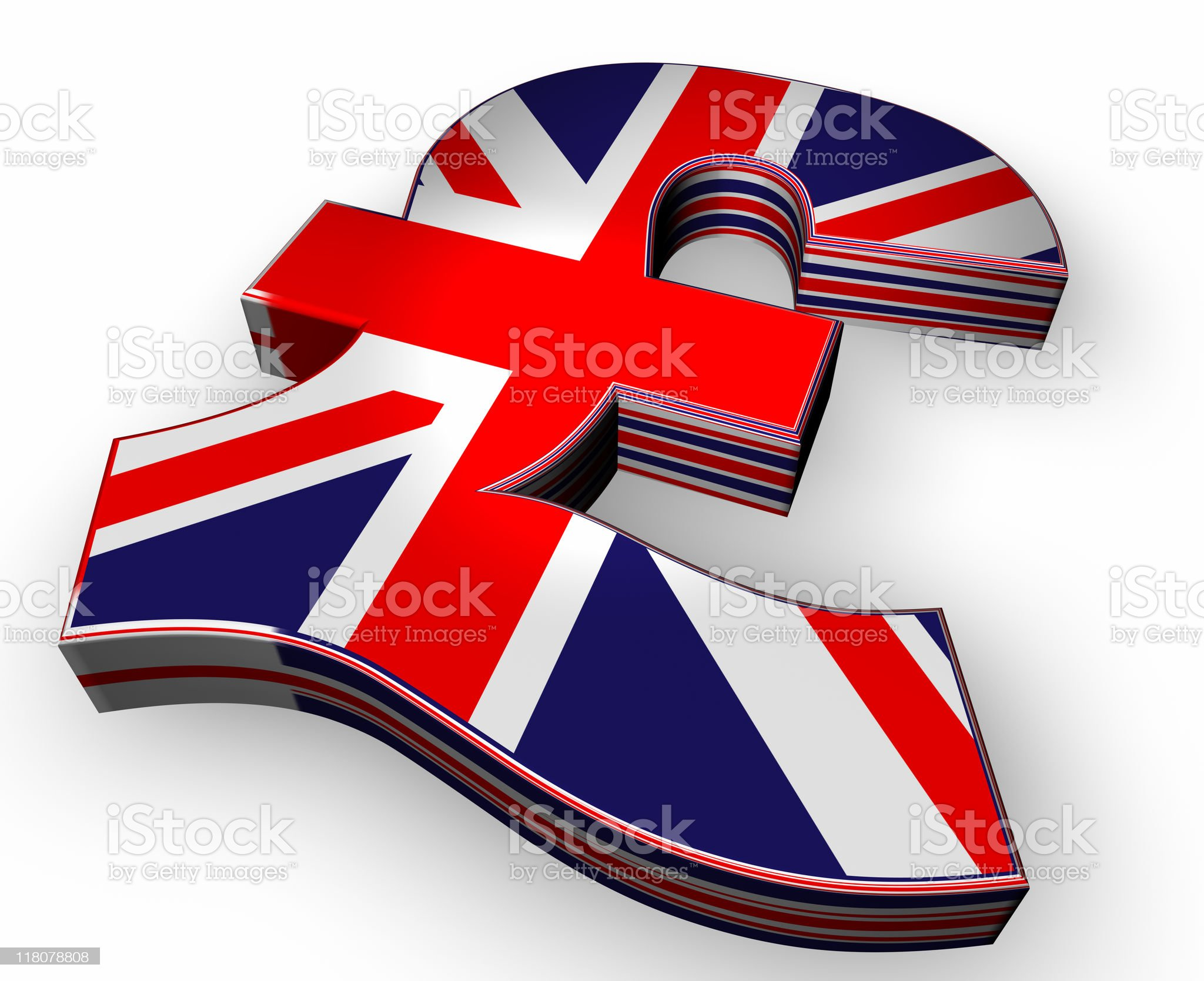 3D British Pound Currency Symbol royalty-free stock photo