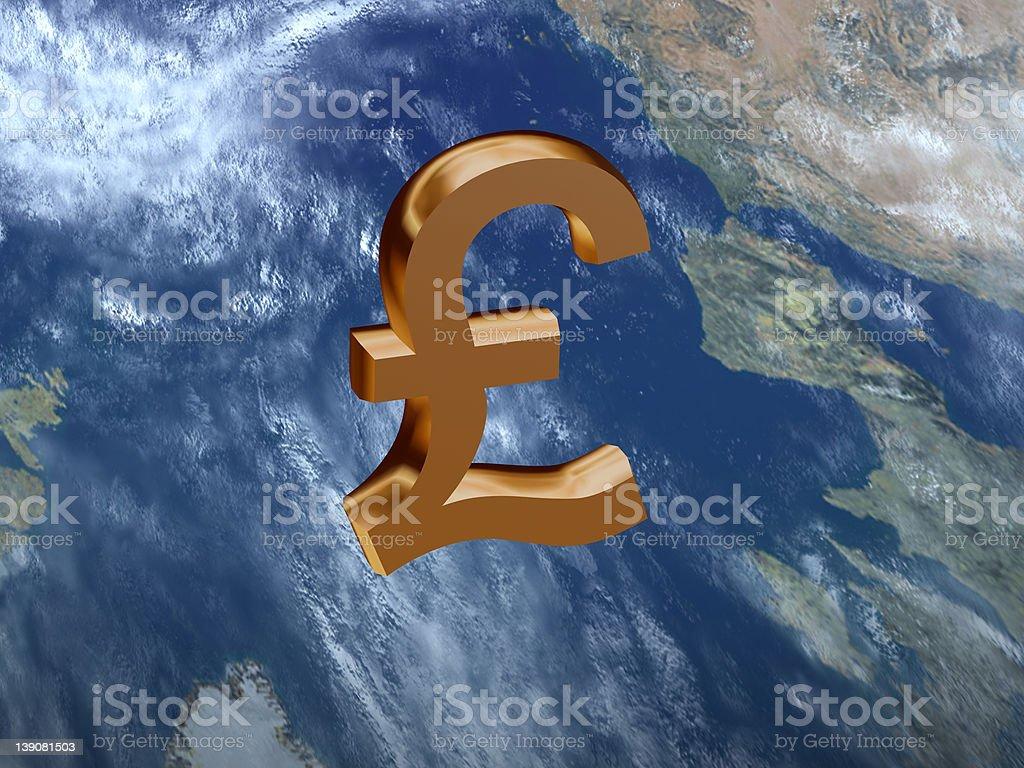 3D British Pound Sign royalty-free stock photo