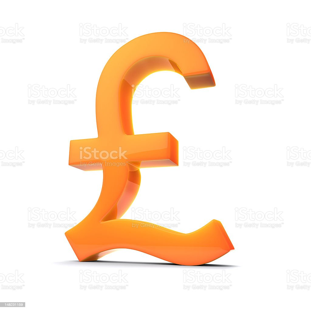 British Pound Symbol in 3D, Orange Tint stock photo
