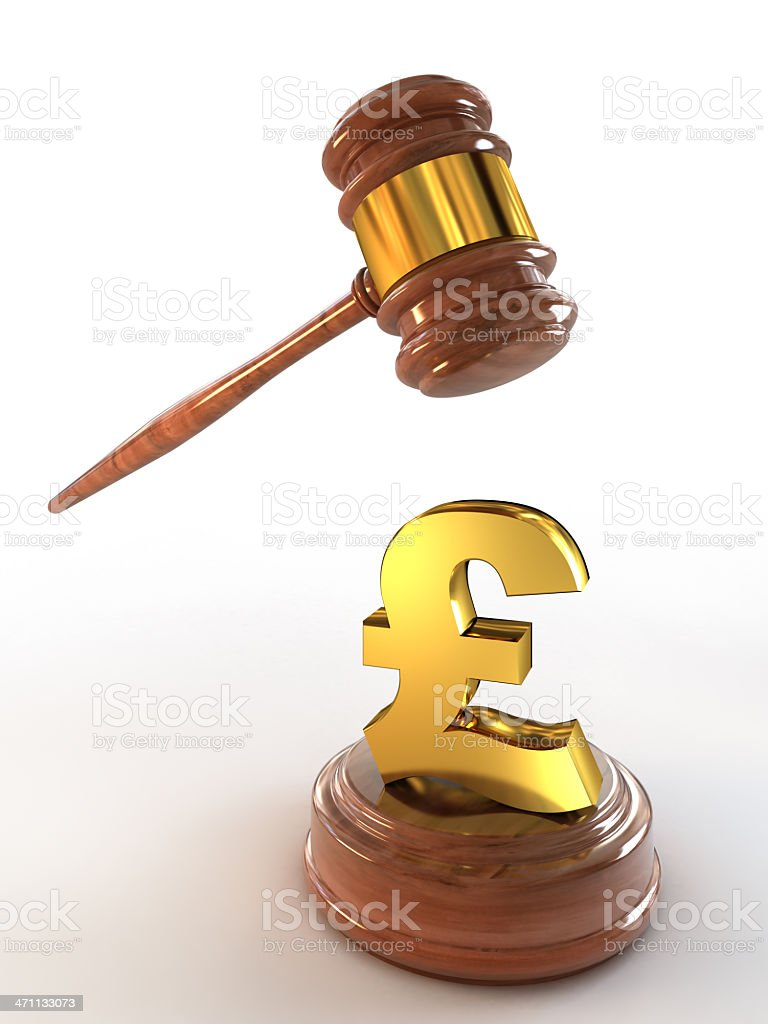 British Pound under the hammer (Clipping path included) royalty-free stock photo
