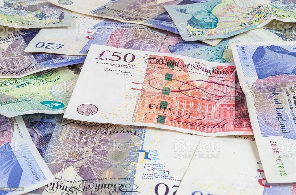 British pounds banknotes background stock photo