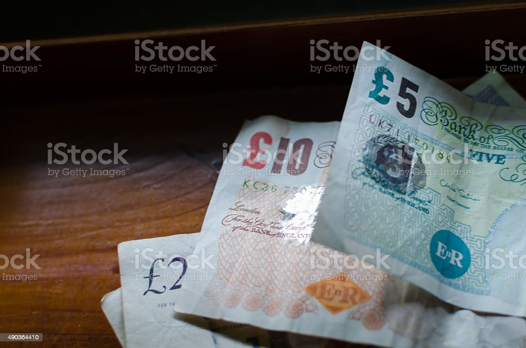 British pounds banknotes Euro, Twenty, Ten and Five stock photo