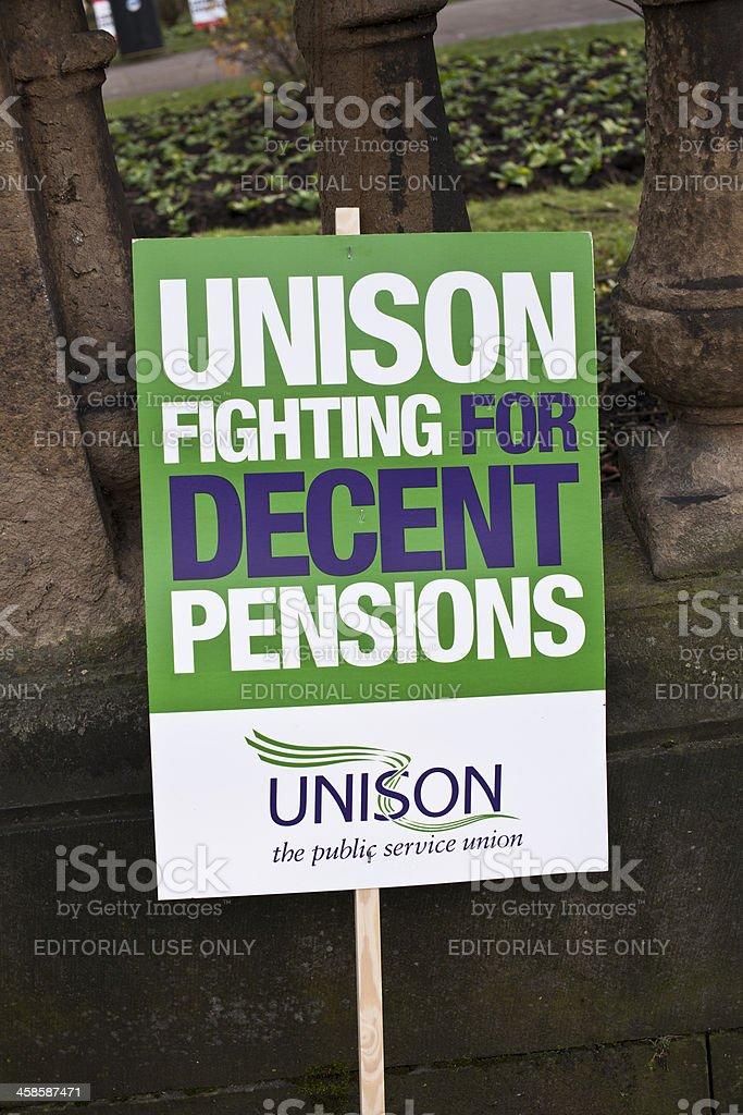 British Puplic Sector Pension Protest Sign stock photo