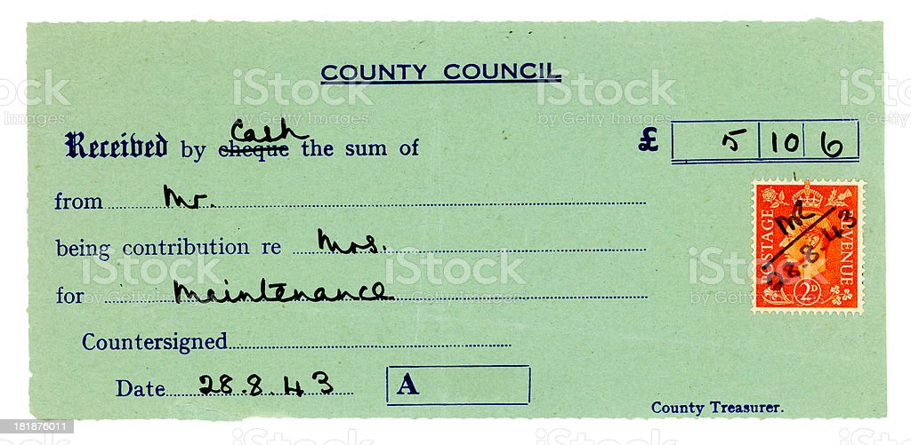 British receipt for maintenance payment stock photo