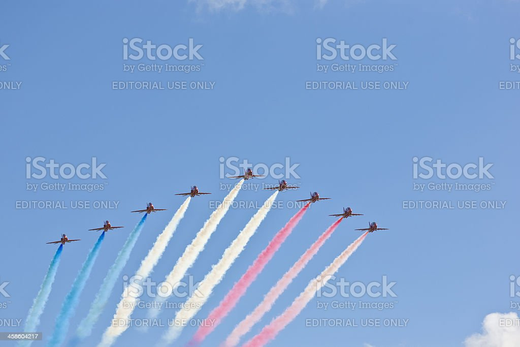 British Red Arrows RAF display air show formation flying royalty-free stock photo