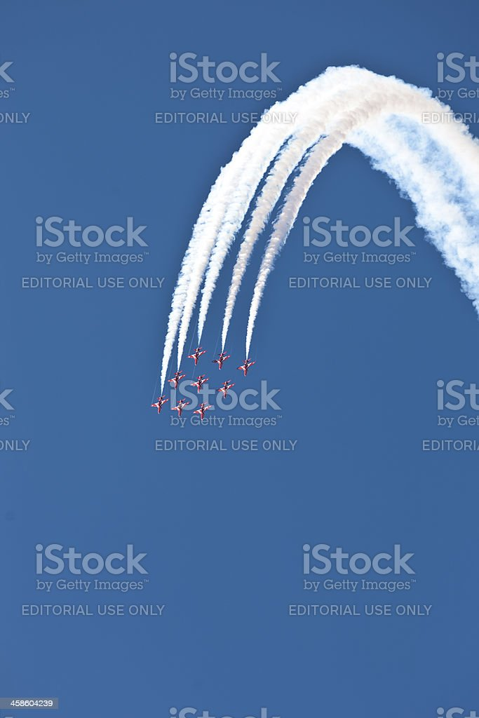 British Red Arrows RAF display air show formation flying stock photo
