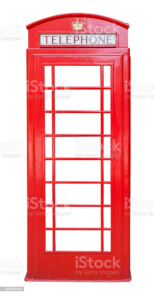 British red phone booth isolated on white stock photo