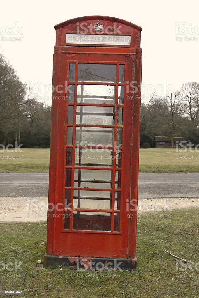 british red phone box country road new forest national park royalty-free stock photo