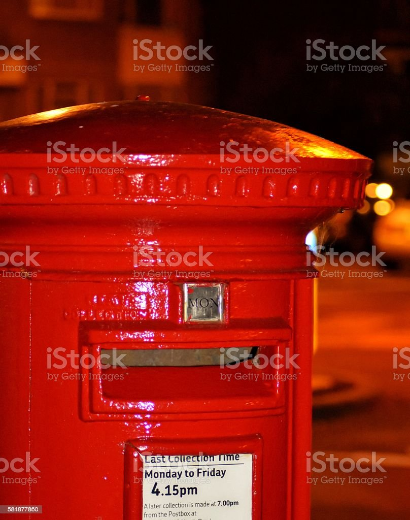British red post box in Brighton at night stock photo