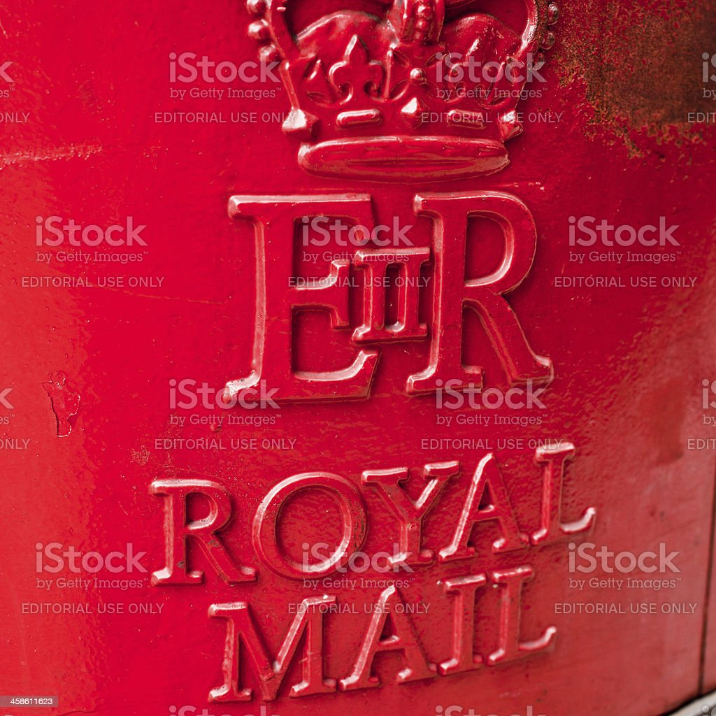 British Red Postbox of Royal Mail in London stock photo