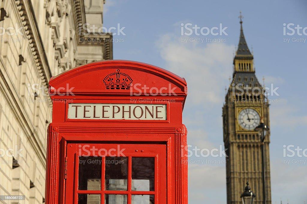 British red telephone box and Big Ben London England. stock photo