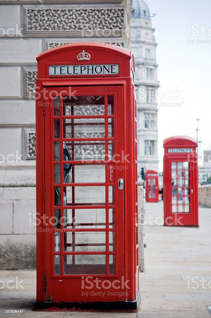 British Red telephone boxes in London stock photo