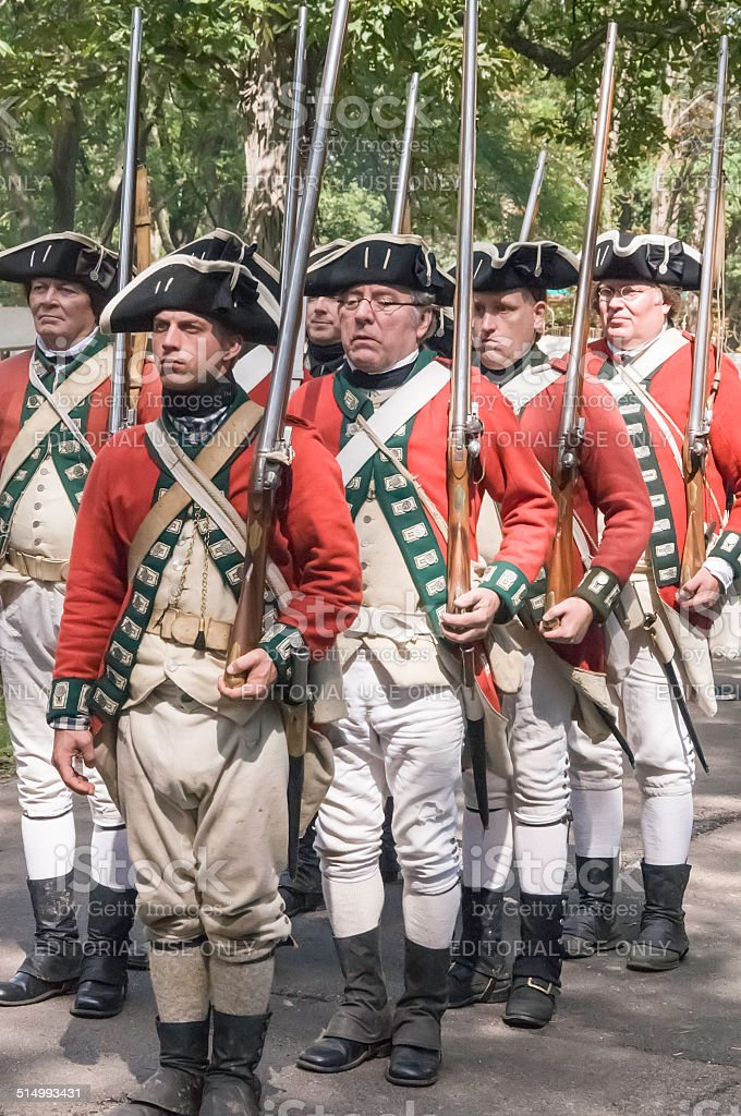 British regulars stand ready to march to battle stock photo