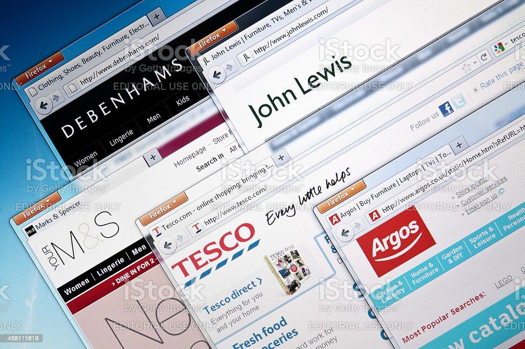 British retailer web sites stock photo