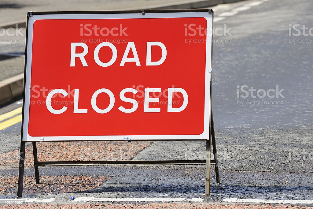 British road closed sign on a street in Scotland stock photo