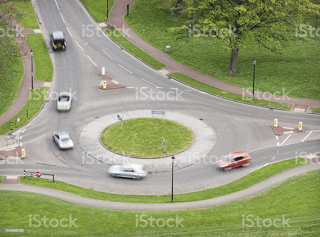 British Roundabout Traffic stock photo