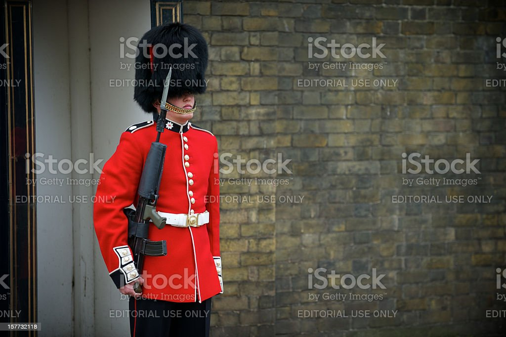 British Royal Foot Guard Red Jacket Busby London stock photo