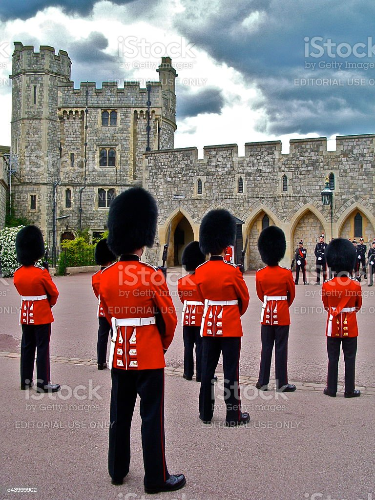 British Royal Guard stands at ease stock photo