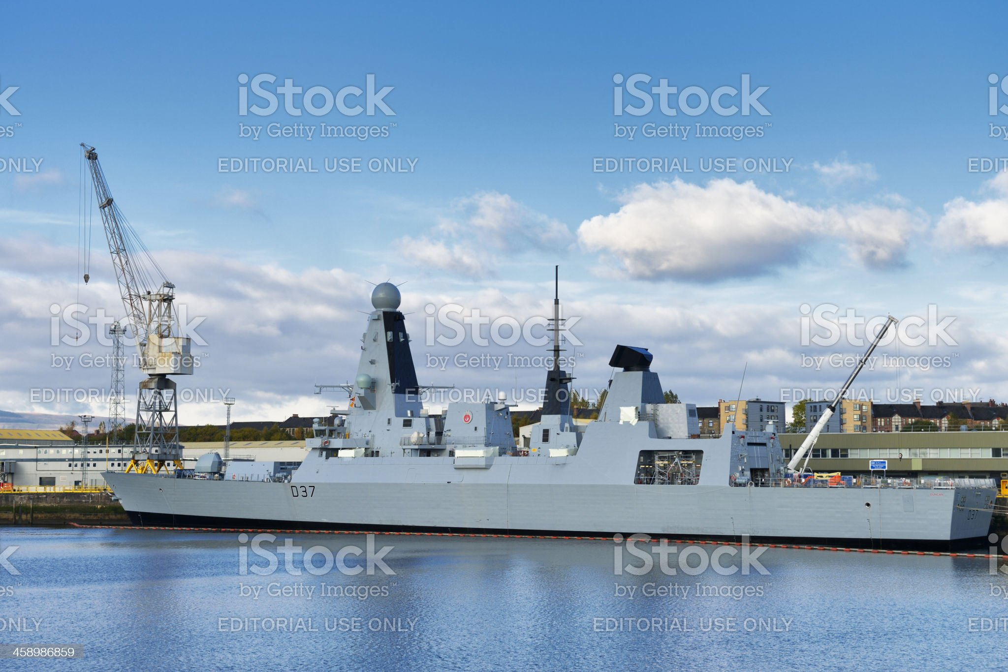 British Royal Navy warship HMS Duncan on the river Clyde royalty-free stock photo