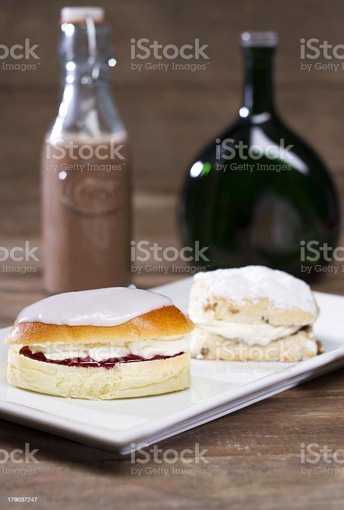 British Scone and Cream Bun royalty-free stock photo